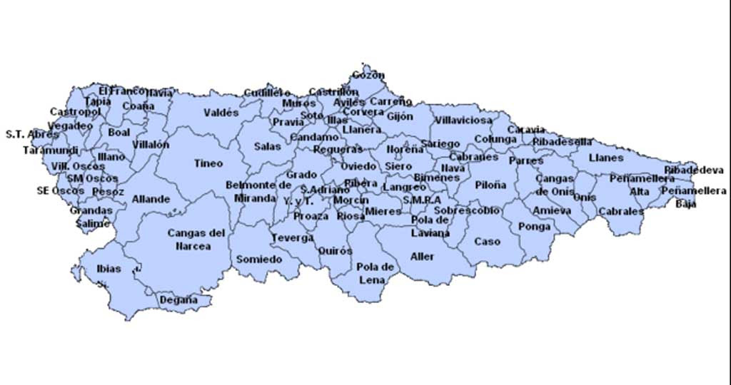 Mapa De Asturias Concejos.Mapa Municipios Asturias Mapa
