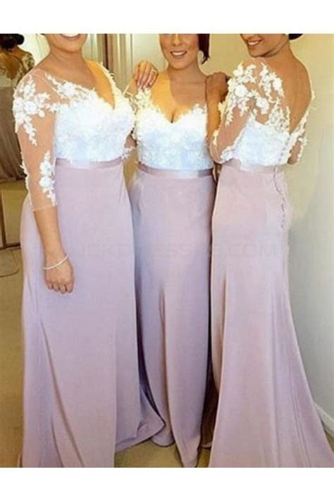 3/4 Length Sleeves V Neck Lace Long Wedding Guest Dresses