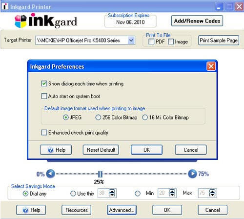 screen shot of ink guard software