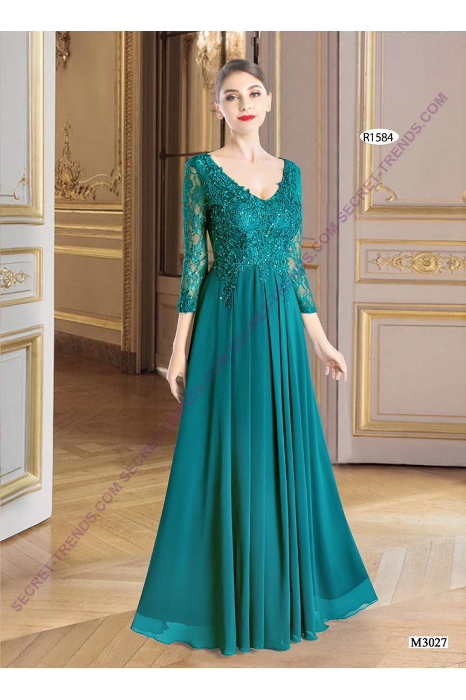 elegant evening dress long sleeved with floral lacejuju