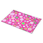 Pink Flower Power Cloth Placemat