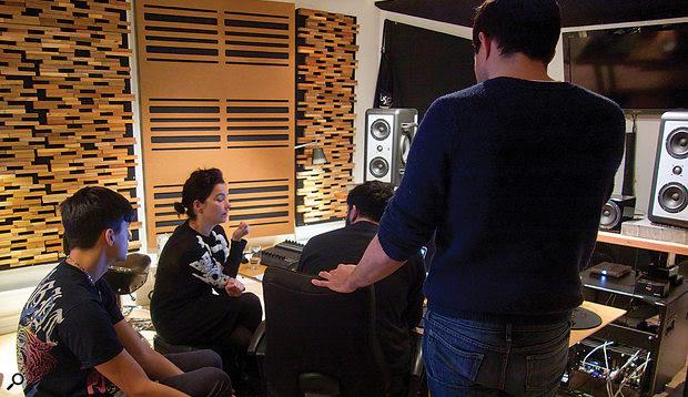 """The """"magic team"""" at Room 313. From left: Arca, Björk, the Haxan Cloak, Chris Elms."""