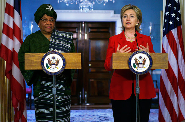 "Ellen Johnson Sirleaf U.S. Secretary of State Hillary Rodham Clinton (R) speaks as Liberian President Ellen Johnson Sirleaf (L) listens during a joint press availability at the Department of State April 21, 2009 in Washington, DC. Sirleaf was on book tour for her memoir ""This Child Will Be Great: Memoir of a Remarkable Life"" in the United States."