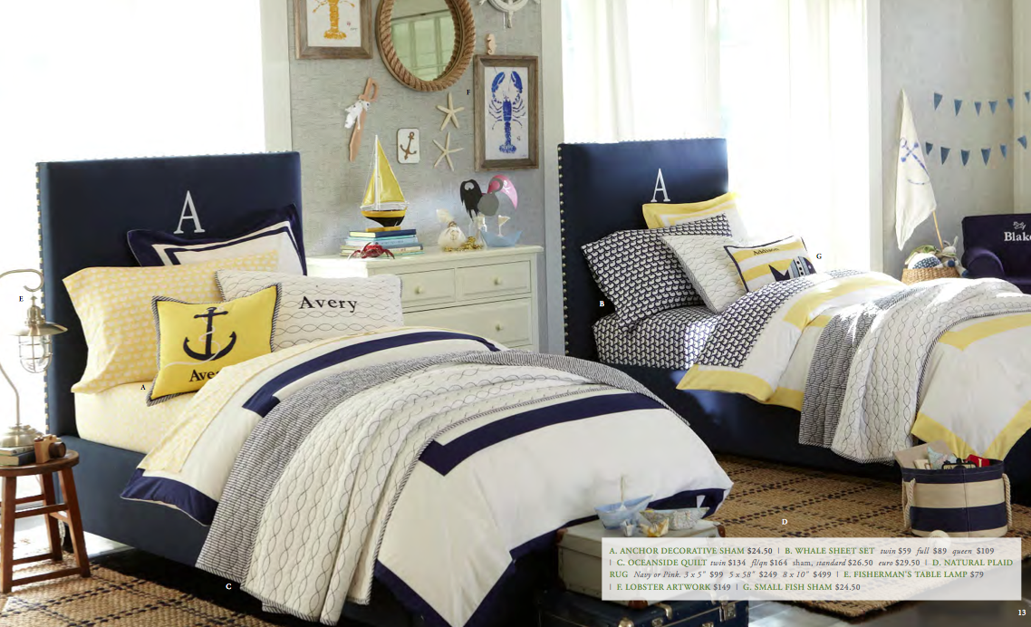 Pottery Barn Kids Summer Preview Rugby Stripe Duvets Nautical Kids