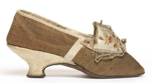 Shoe, French, ca. 1775-85. Made of leather and wool cloth, embroidered satin ribbon trim.