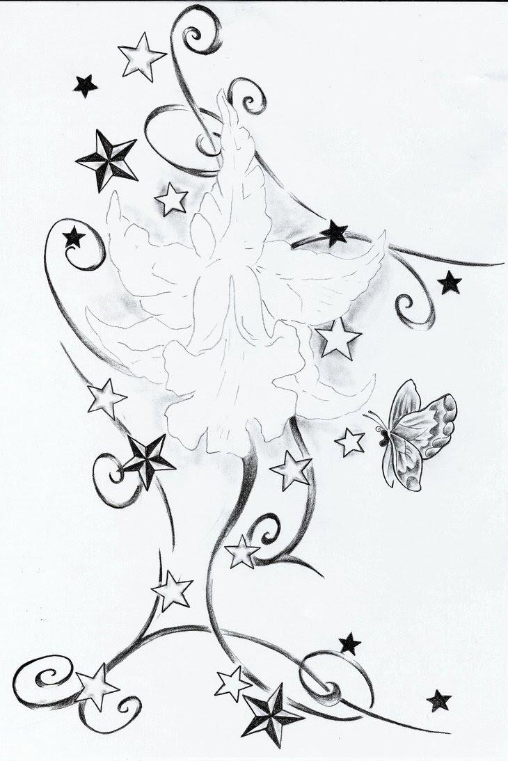 Flower And Stars Tattoos Designs