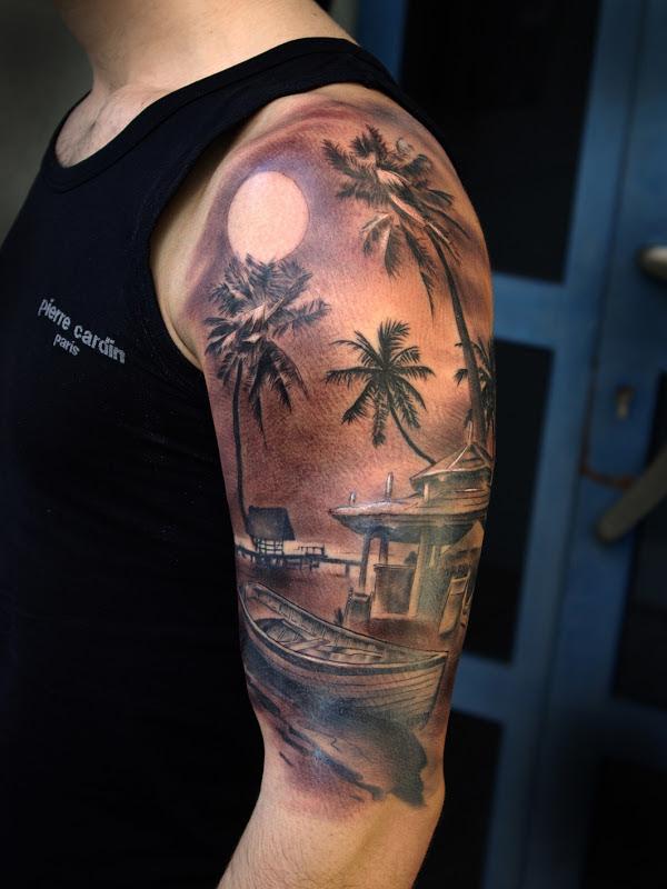 Grey Ink Palm Tree Tattoos On Left Half Sleeve