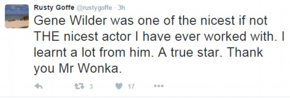 Rusty Goffe, que interpretou um dos Loompas Oompa ao lado de Wilder, também prestou seus respeitos