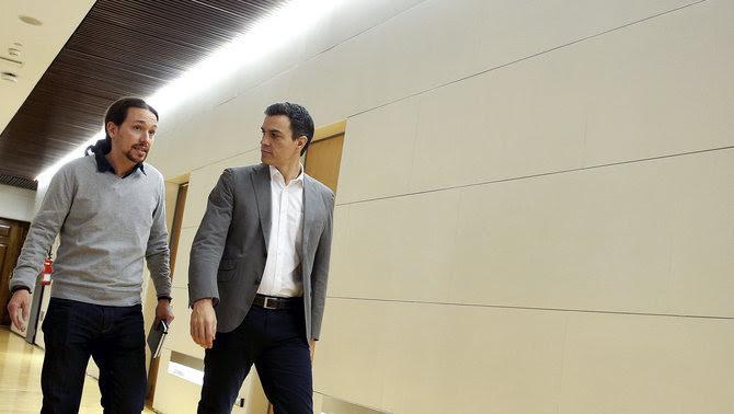 Pedro Sánchez i Pablo Iglesias s'han reunit avui al Congrés (EFE)