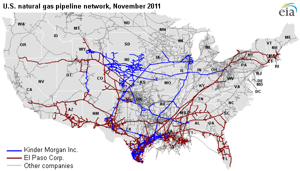 map of U.S. natural gas pipeline network, November 2011