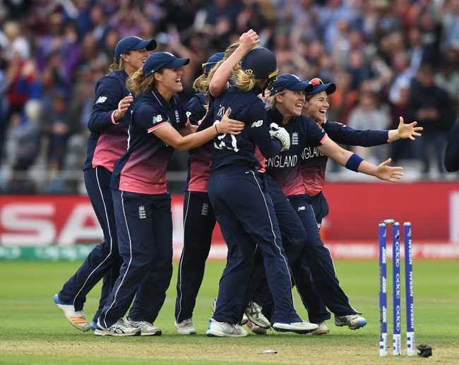 WINNING MOMENTS: England celebrate the fall of India;s final wicket, nine short of their total.