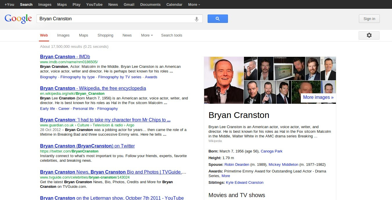 Google Search, with the new design
