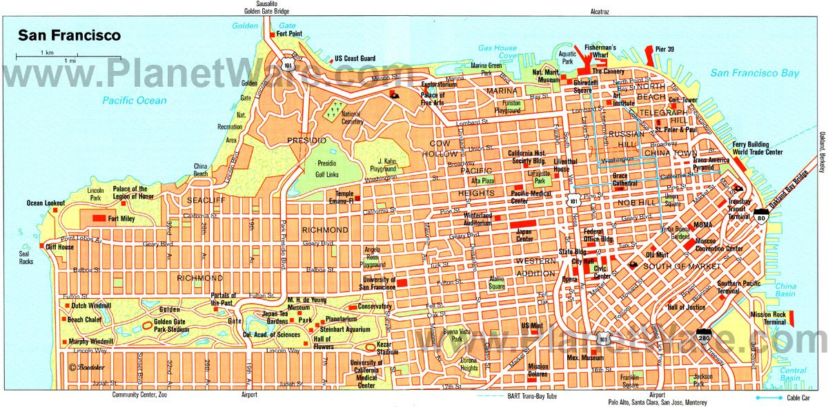 San Francisco Attractions Map San Francisco Map Of Attractions | Campus Map