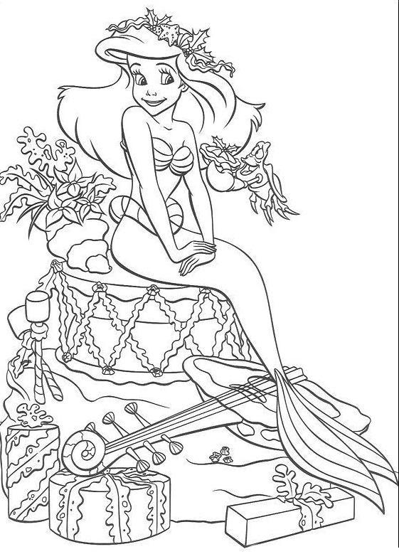 Coloriage A Imprimer Arielle La Petite Sirene Et Les Cadeaux De Noel