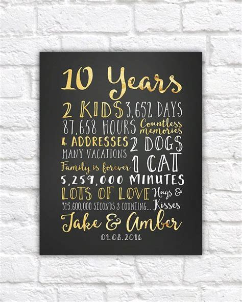 Wedding Anniversary Gifts for Him, Paper, Canvas, 10 Year