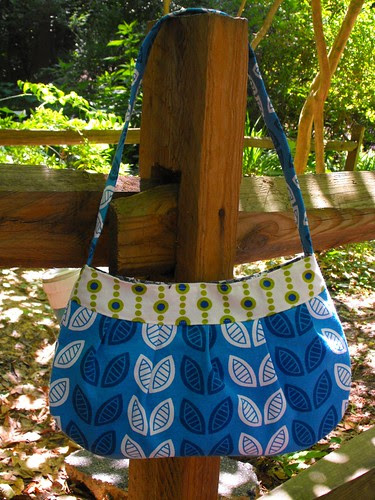 Graphic Leaf and Beads Bag