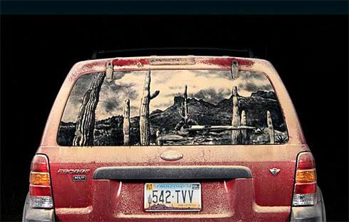 art dust 10 Arte na Poeira das Janelas dos Carros