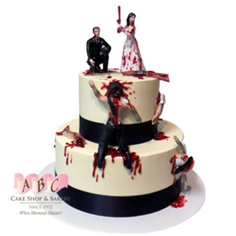 (2243) 2 Tier Zombie Wedding Cake   ABC Cake Shop & Bakery