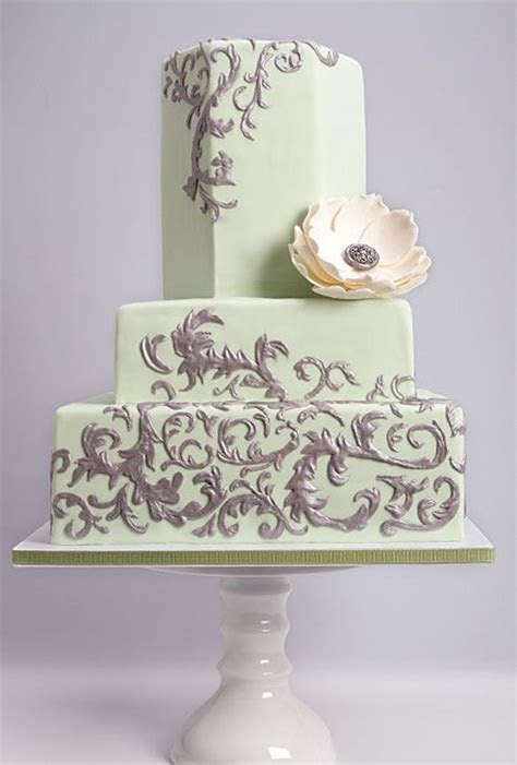 Silver Scrollwork on Mint Green Wedding Cake. #wedding #