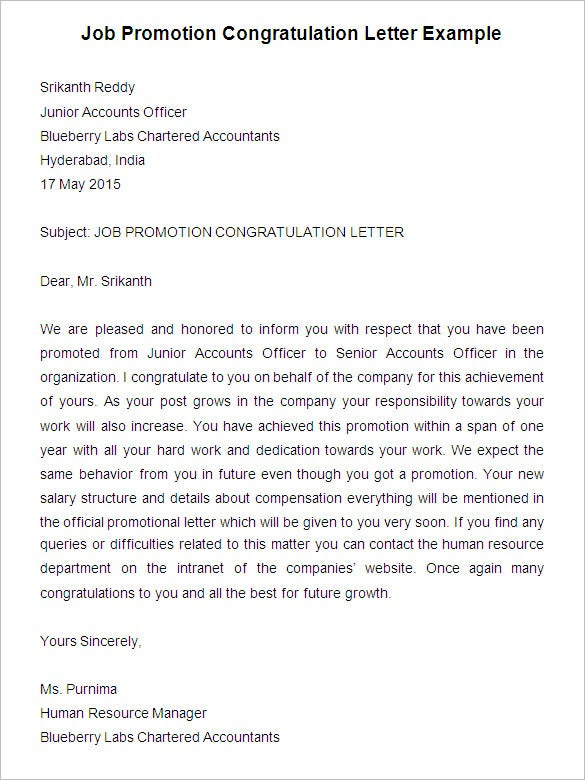 20 Promotion Letter Templates Pdf Doc Apple Pages