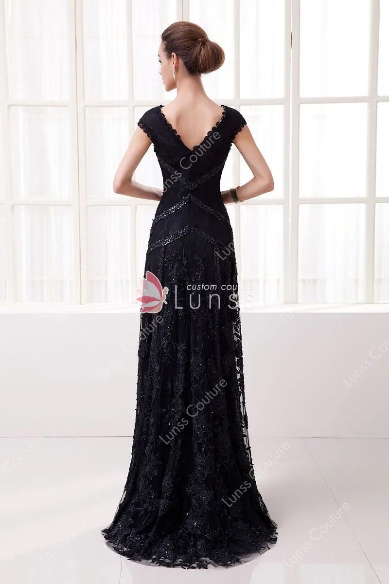 black elegant long evening dress 4