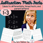 Math Facts- Timed Test and Parent Letters for Subtraction!