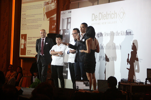 Chefs Pang Kok Keong, Julien Bompard, and Andre Chiang on stage at De Dietrich 2012 launch