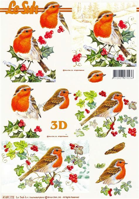 Robins Sitting On Winter Branches Designs 3d Decoupage