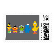 Pixel Sesame Street Characters Postage Stamps