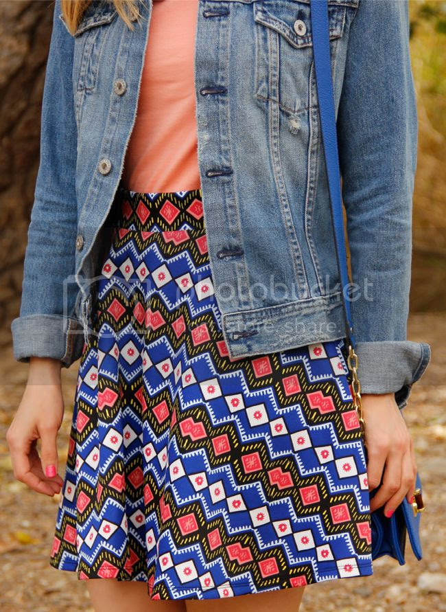 Xhilaration tribal world print mini skirt from Target with AG Jeans Robyn denim jacket