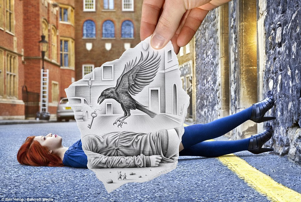 Bizarre: Model Caroline Madison lies on the ground in London in another image from the gallery