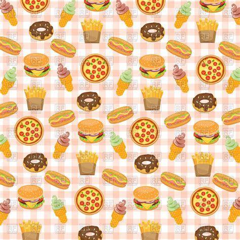 Fast food background with doughnut, hotdog, ice cream