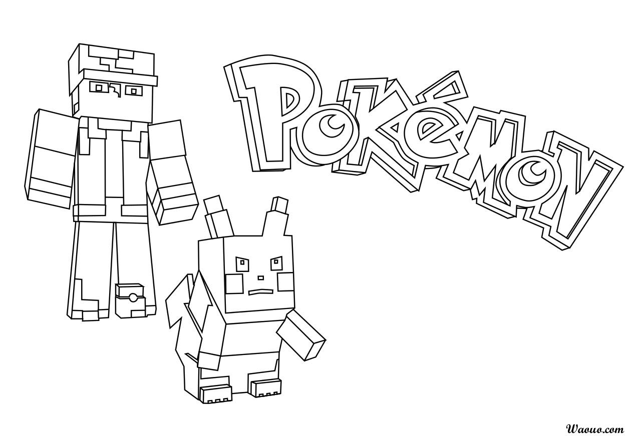 Coloriage Pokemon Minecraft