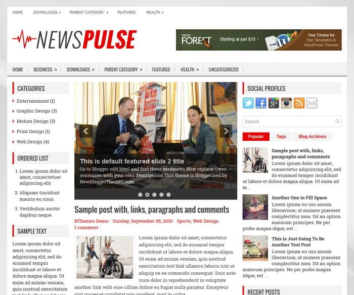 NewsPulse Blogger Template