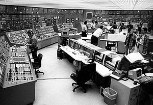 Control room in Nuclear power plant.