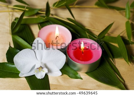 Candles Orchid And Bamboo Twigs - Spa Decoration Stock Photo ...