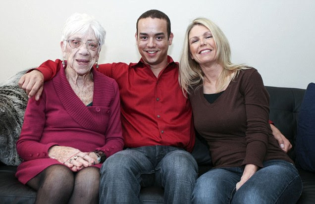 Kyle, who says says that he always been attracted to older women, has even taken girlfriend Marjorie McCool, 91 (L) home to meet his mother Ceceila Jones (R)