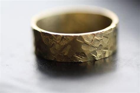 Brass hammered ring / Hammered engagement band / Mens hammered