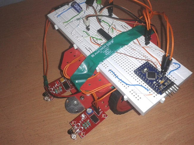 Electronic circuits and projects make a line follower