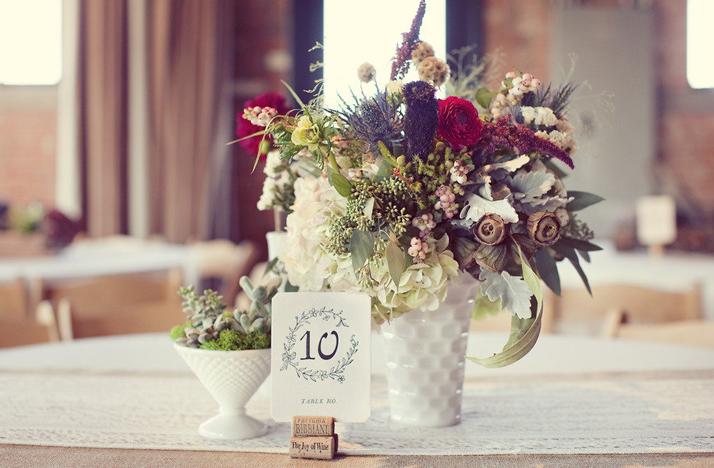 stunning wedding centerpiece fall flowers winery wedding venue