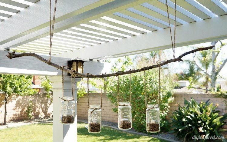 DIY Mason Jar Outdoor Chandelier