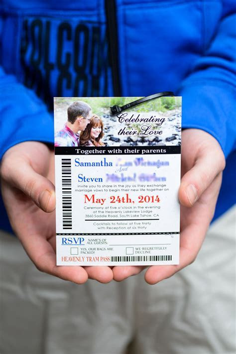 Ski pass / lift ticket wedding invitations to Lakeview