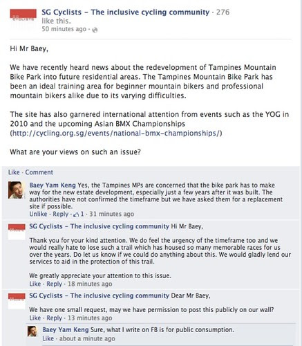 SG Cyclists conversation with MP Baey Yam Keng