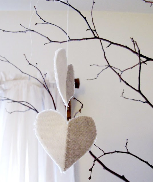 hanging stitched half hearts