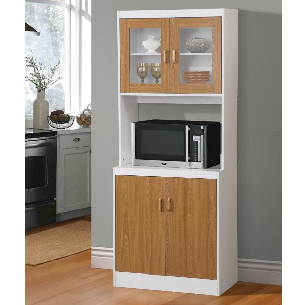 NEW Brown Tall Kitchen Microwave Stand Utility Cabinet ...