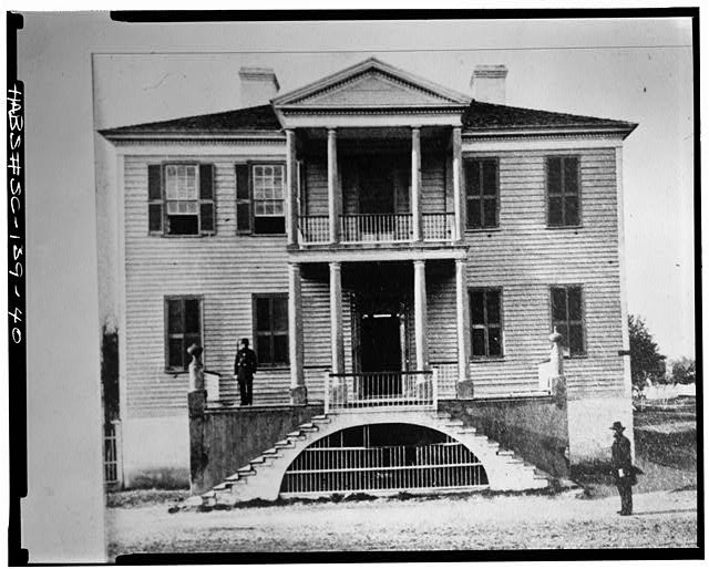 40.  View of the Verdier House taken during the Civil War. PHOTOCOPY OF OLD PHOTOGRAPH. - John Mark Verdier House, 801 Bay & Scott Streets, Beaufort, Beaufort County, SC