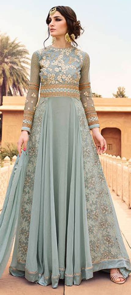 475459: Black and Grey color family stitched Anarkali Suits