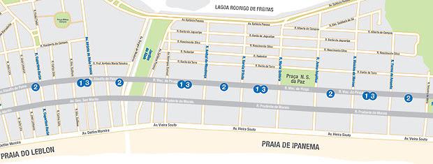 Mapa dos pontos de ônibus com corredor exclusivo em Ipanema e Leblon, na Zona Sul do Rio (Foto: Divulgação/SMTR)