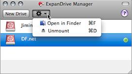 Screenshot of ExpanDrive's context menu for mounted drives.