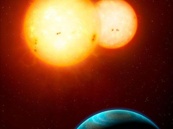 An artist's concept of the exoplanet Kepler-35b.